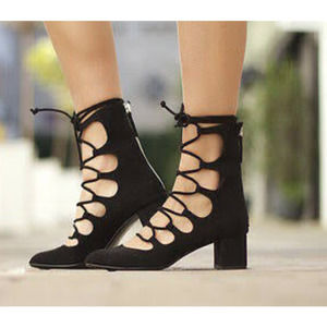 Zara Black Suede Lace-Up Zipper Back Block Heels
